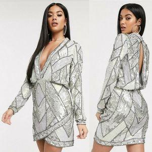 ⚡SALE⚡⭐NWT⭐ ASOS - Embellished Plunge Mini Dress